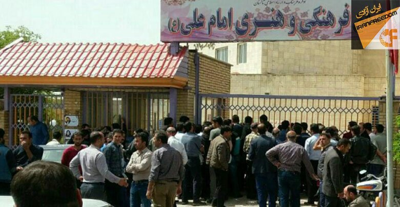 کارگران تاکستان مقابل دفترفرهنگی