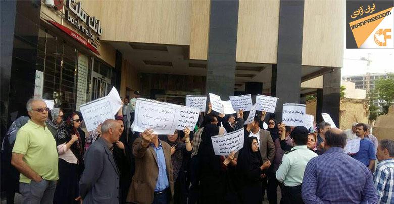 تجمع اعتراضی پرستاران سهامدار پروژه ایمان درمشهد