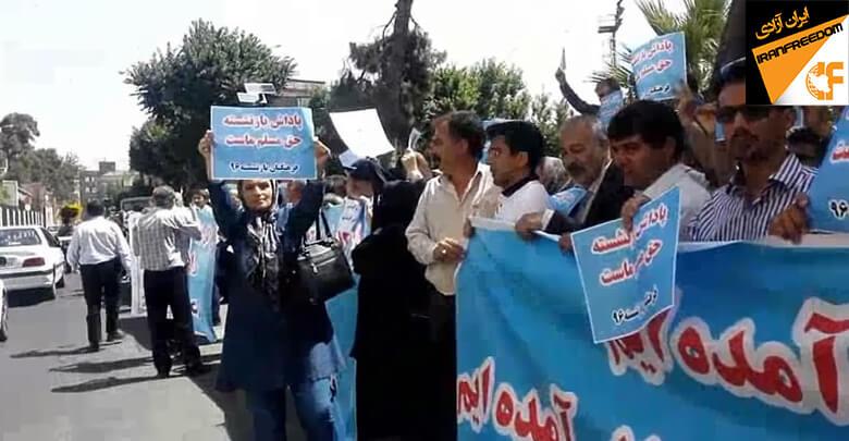 بازنشستگان فرهنگی مقابل سازمان برنامه و بودجه دست به تجمع اعتراضی زدند