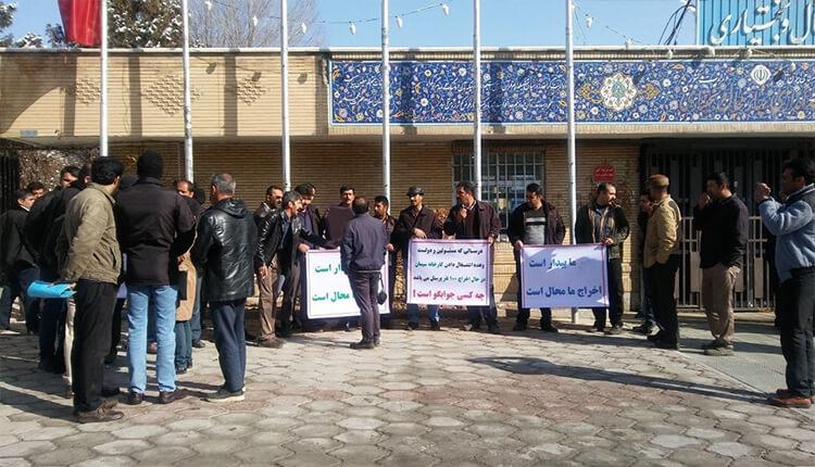 کارگران فلات قاره جزیره خارک بوشهر دست به تجمع اعتراضی زدند