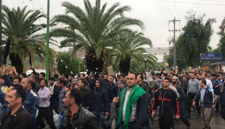 راهپیمایی کارگران نیشکر هفت تپه در یازدهمین روز اعتصاب درشهرشوش