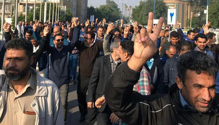 حمایت از کارگران بازداشتی توسط کارگران فولاد اهواز با تظاهرات درخیابان های اهواز