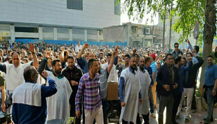 سی و سومین روز اعتصاب و تظاهرات کارگران گروه ملی فولاد اهواز در مقابل مراکز دولتی