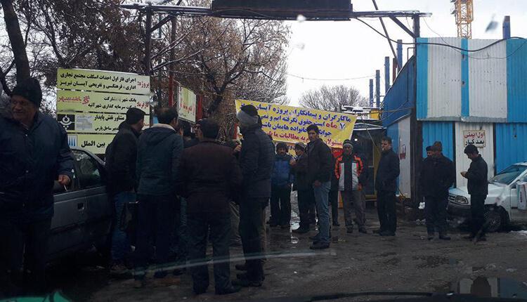 تجمع اعتراضی کارکنان پروژه آیسان در تبریز در اعتراض به معوقات مزدی