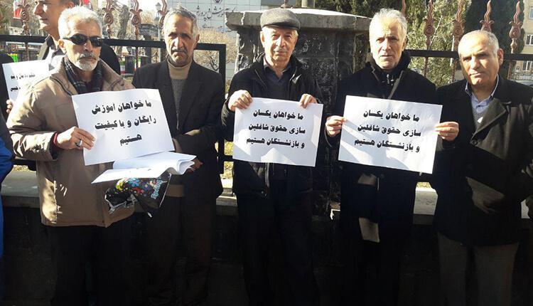 تجمع اعتراضی فرهنگیان و معلمان ارومیه، سنندج، در اعتراض به عملی نشدن مطالبات شان