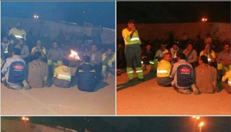 ادامه تجمع اعتراضی شبانه کارگران منطقه 5 شهرداری اهواز