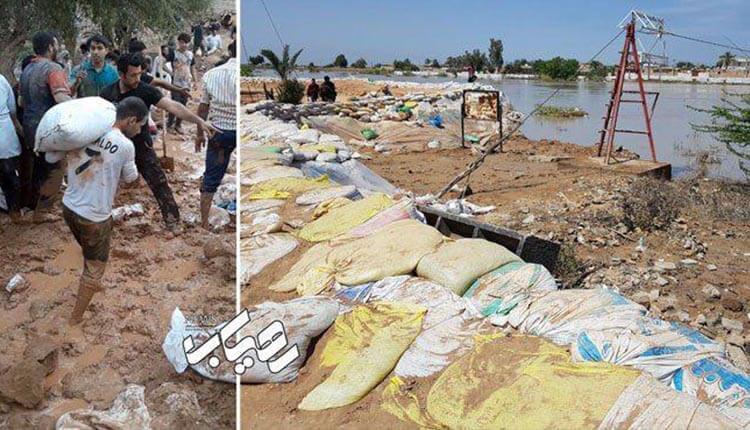 اعتراض یکی از سیل زدگان در مورد شرایط اسفبار اردوگاه حمیدیه