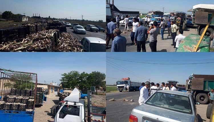 تجمع اعتراضی و بستن جاده توسط کشاورزان سیر کار در پارس آباد مغان