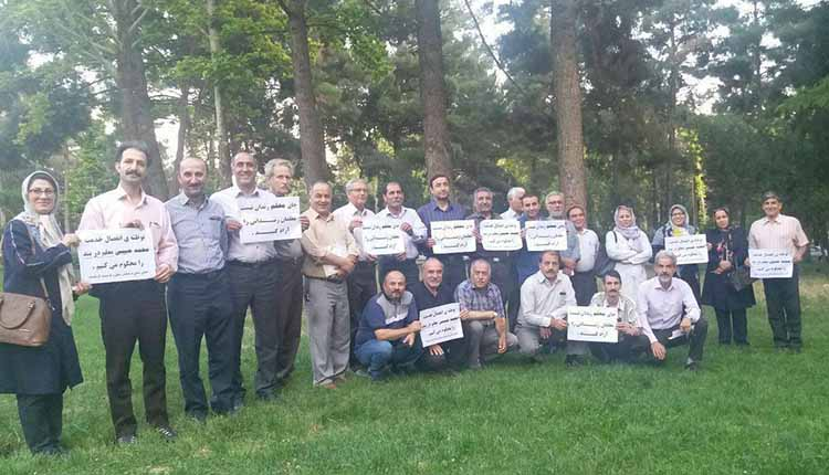 تجمع معلمان کرمانشاهی در حمایت از معلمان زندانی