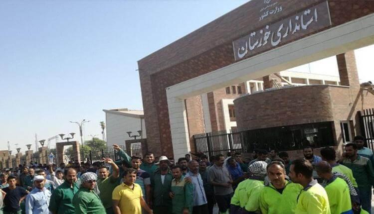 تداوم اعتراضات کارگران فضای سبز شهرداری کوت عبدالله در بلاتکلیفی مطالباتشان