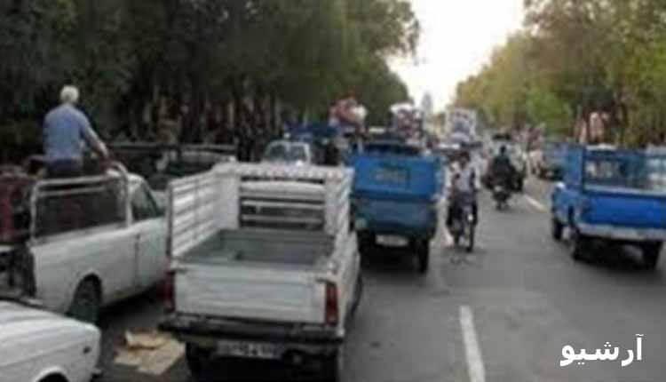 تجمع اعتراضی رانندگان وانت بار در تهران در اعتراض به بالا بودن هزینه ورود به طرح ترافیک