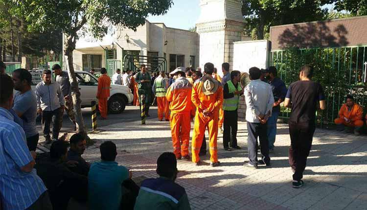 اعتصاب و تجمع کارگران روزمزد شهرداری منطقه هفت کرمانشاه