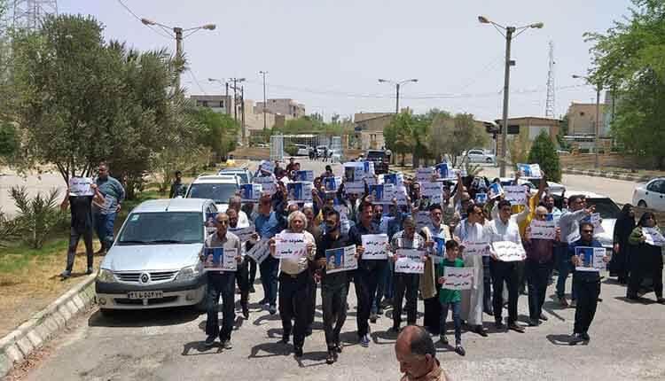 مردم بندر ماهشهر مجددا در اعتراض به بحث حریم و محدوده تجمع کردند