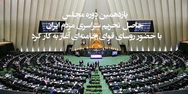 یازدهمین دوره مجلس، حاصل تحریم سراسری مردم ایران، با حضور روسای قوای خامنهای آغاز به کار کرد