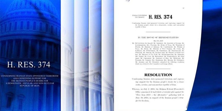 قطعنامه اکثریت نمایندگان کنگره آمریکا در حمایت از خواست مردم ایران برای برقراری یک جمهوری دموکراتیک