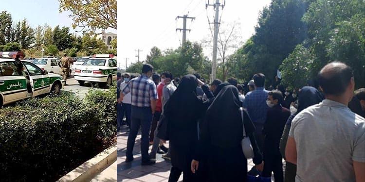 تجمع اعتراضی پرستاران مشهد در مقابل دادگستری
