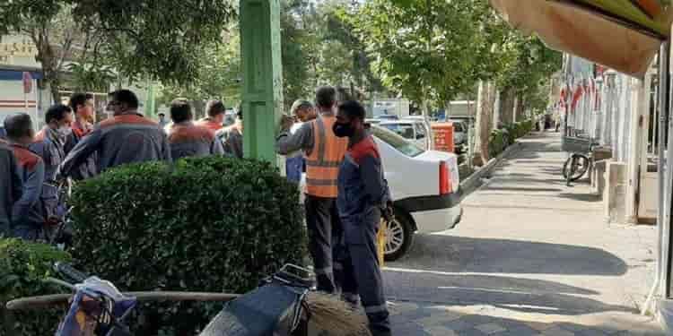 تجمع اعتراضی کارگران واحد پاکبانی و فضای سبز شهرداری خوی